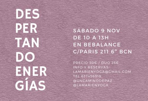 Taller Despertando Energias 9 de Noviembre en Barcelona